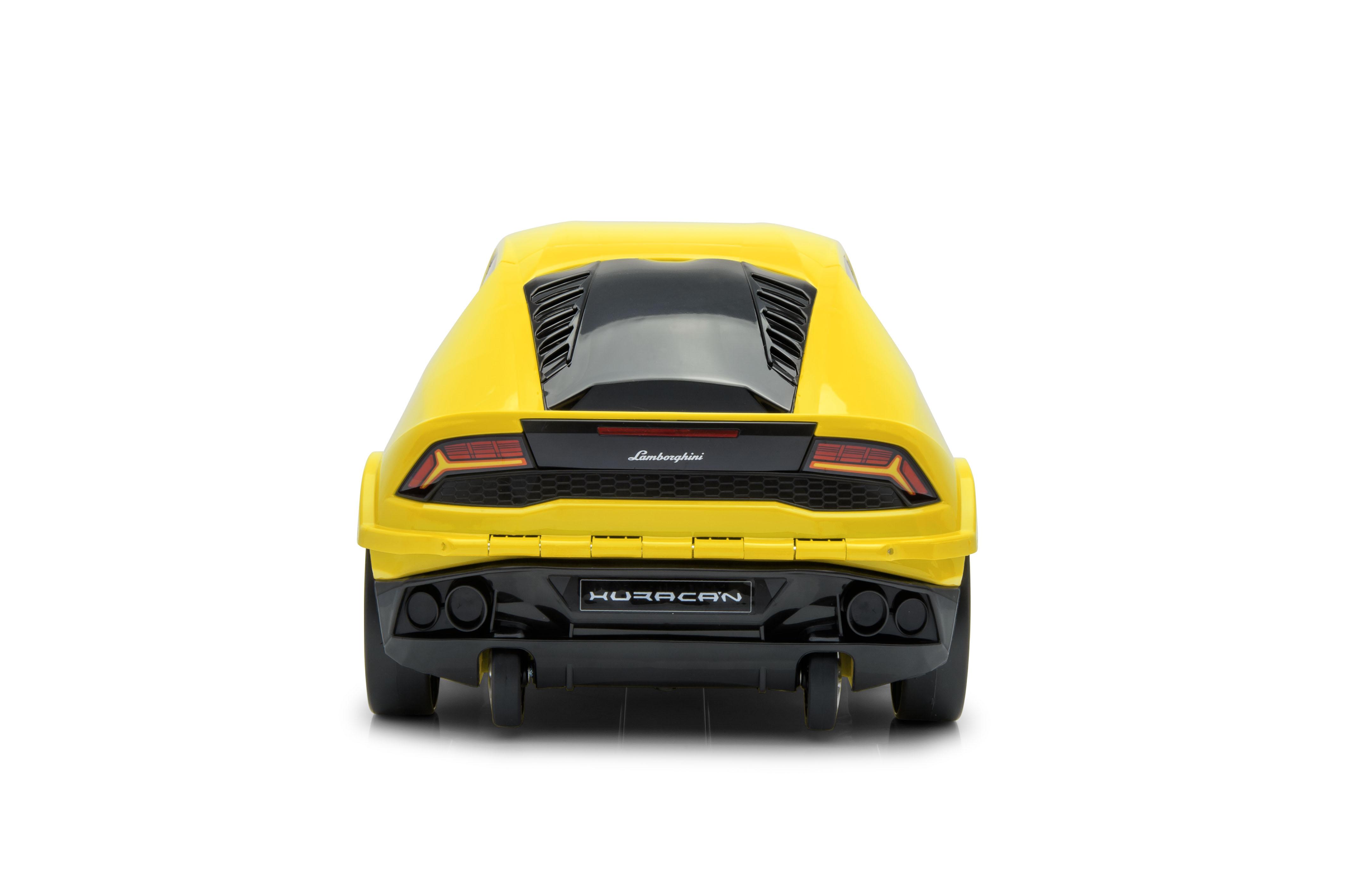 Official Lamborghini Huracan Car Kids Pull Along Case Travel Suitcase Yellow Ebay