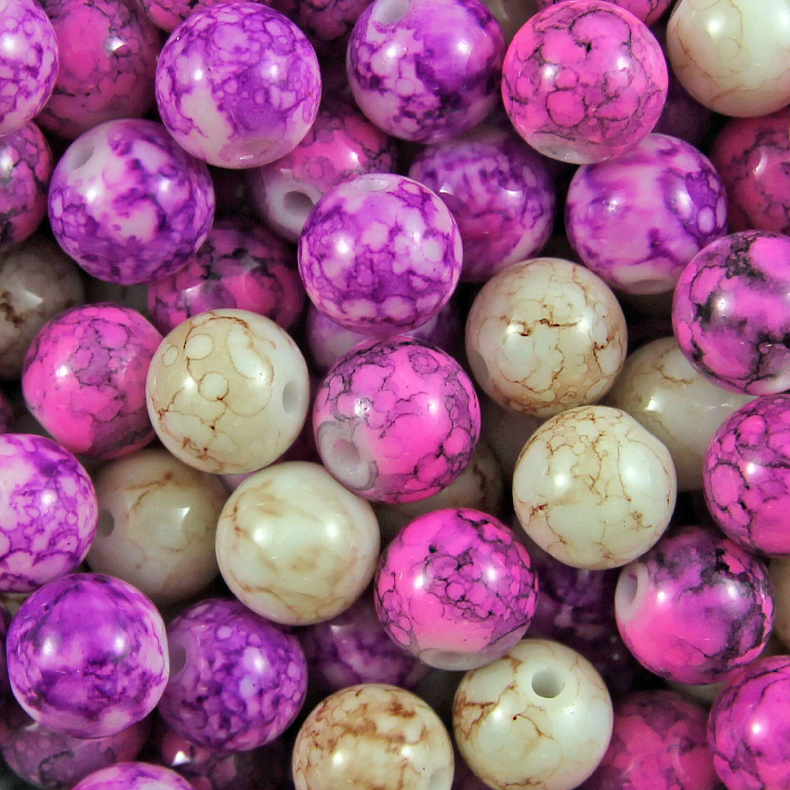50-200-Glass-Mottle-Marble-Effect-Round-Beads-Choose-6mm-8mm-amp-10mm
