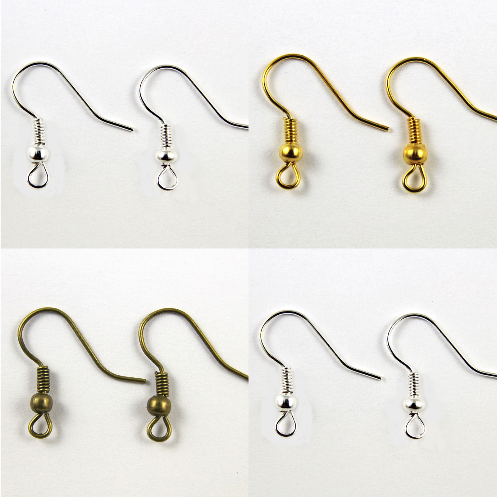 200-100-Pairs-FISH-HOOK-EARWIRES-18mm-Choose-SILVER-BRONZE-GOLD-PLATED