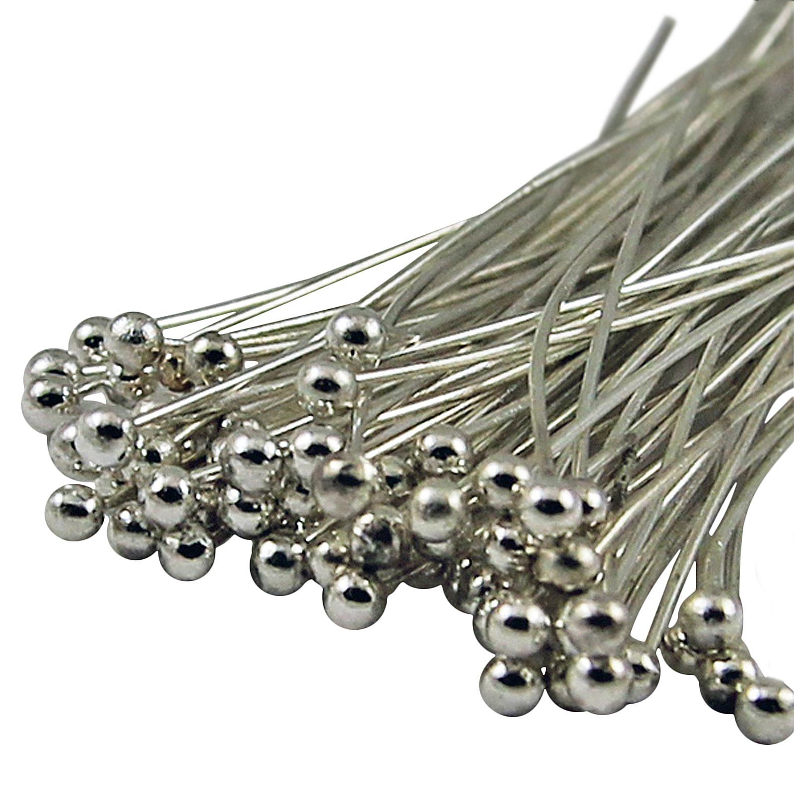 100 Bronze, Gold & SILVER PLATED Metal BALL HEAD PINS 30mm 40mm 50mm - Ballpins