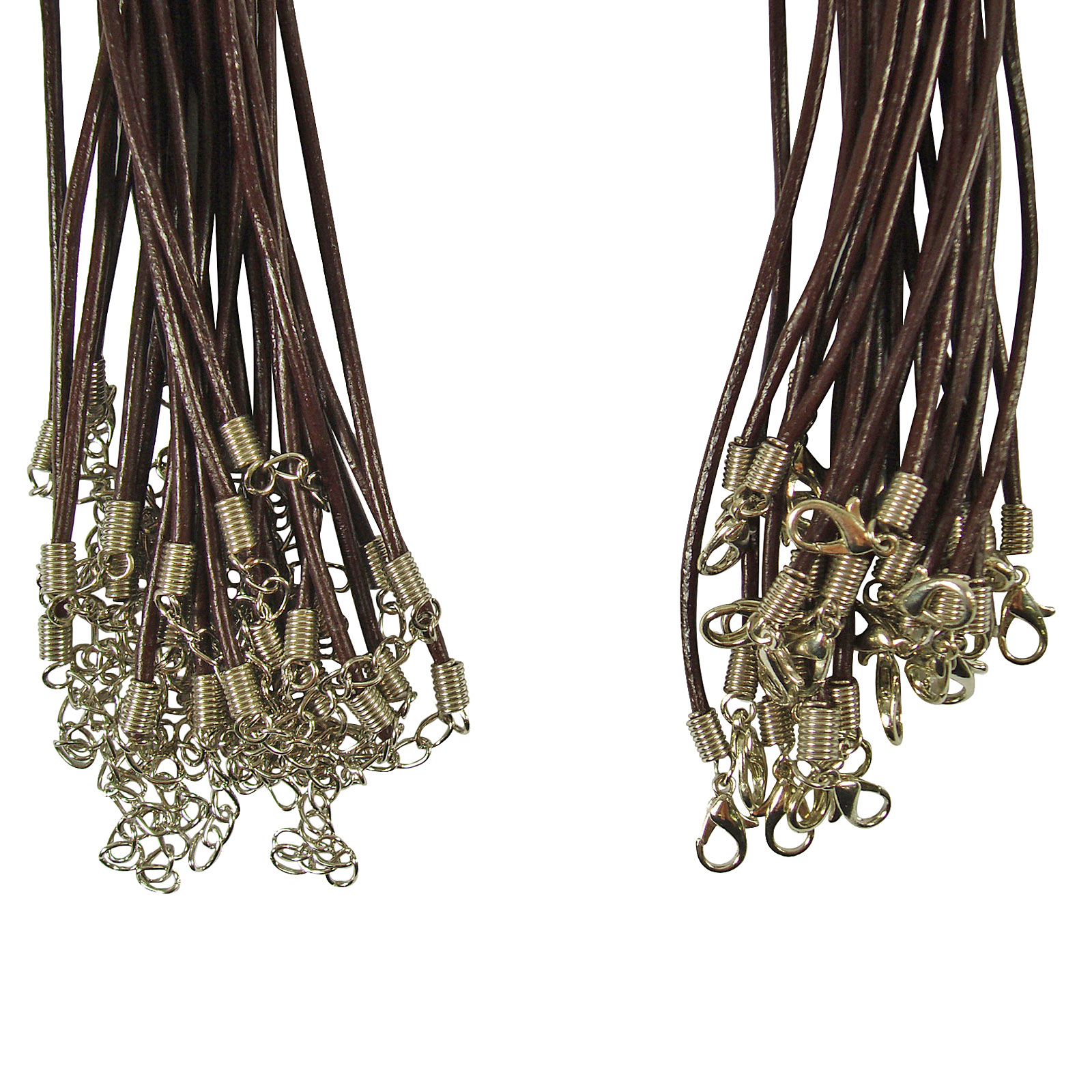 25 x Leather Round Thong Necklace Cords - Lobster Clasp
