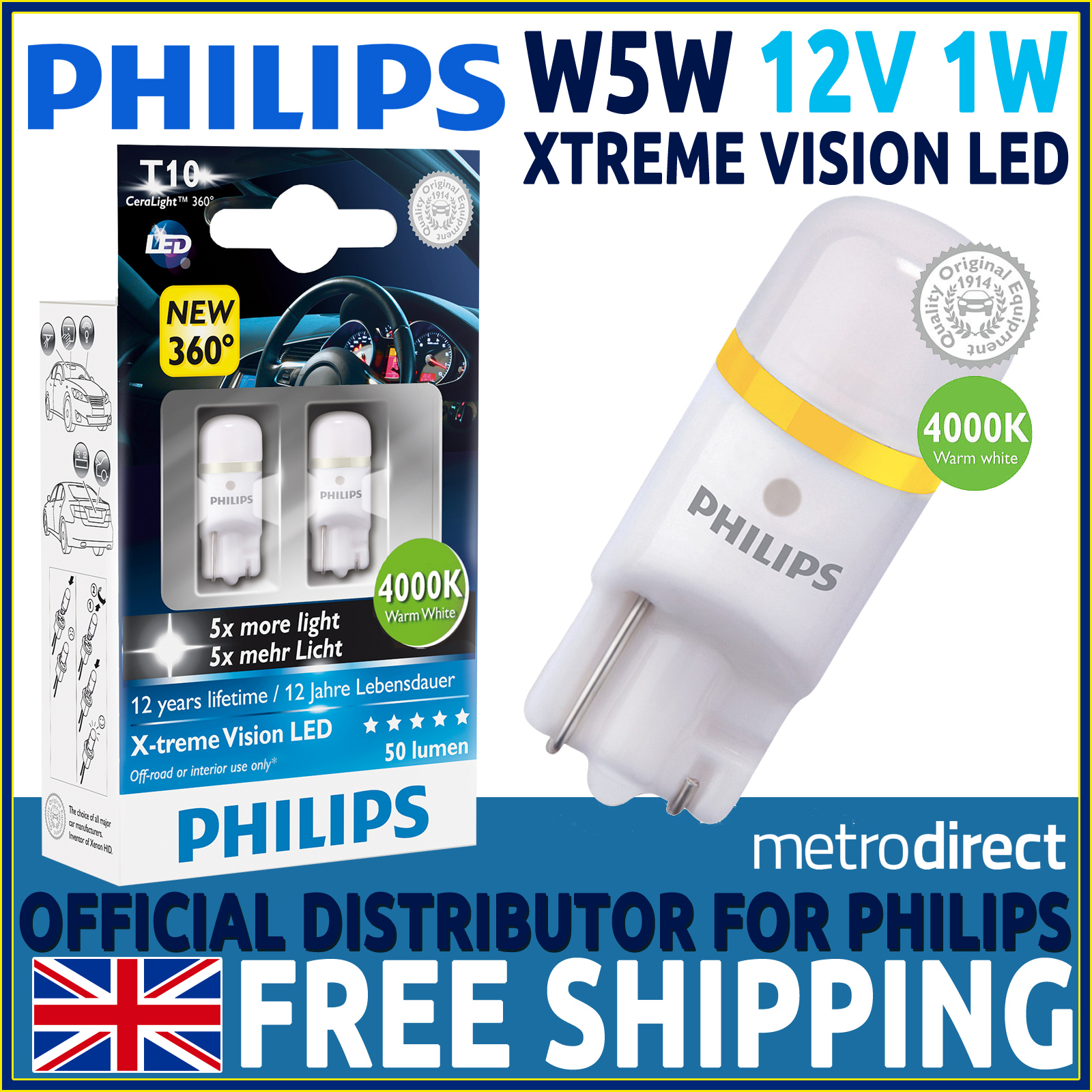 philips x treme vision 360 led w5w 501 t10 led car bulbs. Black Bedroom Furniture Sets. Home Design Ideas