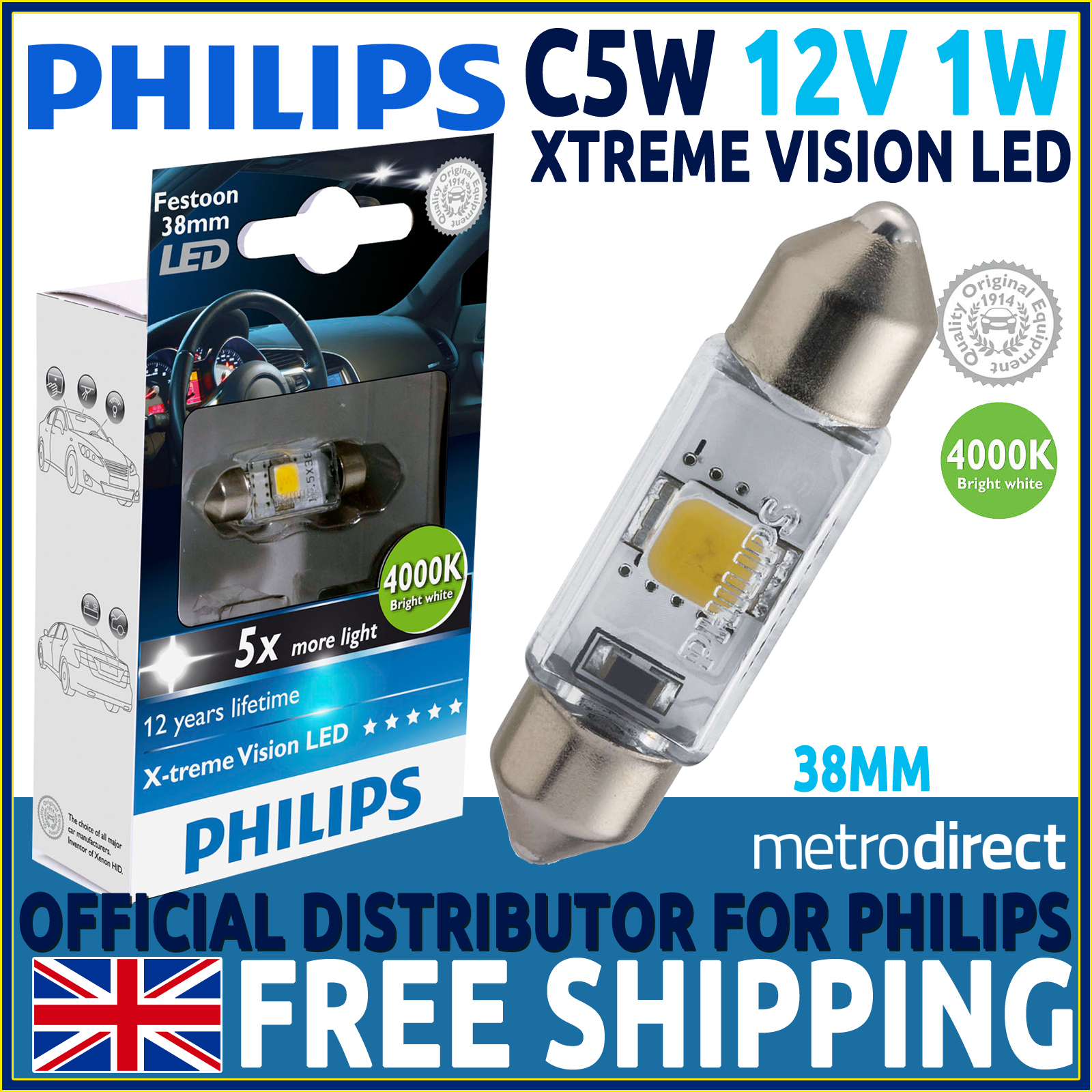 philips x treme vision festoon led c5w 38mm car bulb. Black Bedroom Furniture Sets. Home Design Ideas