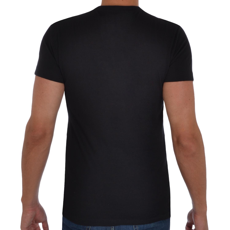 K swiss mens logo t shirt retro crew neck tee top black for Mens crew neck tee shirts