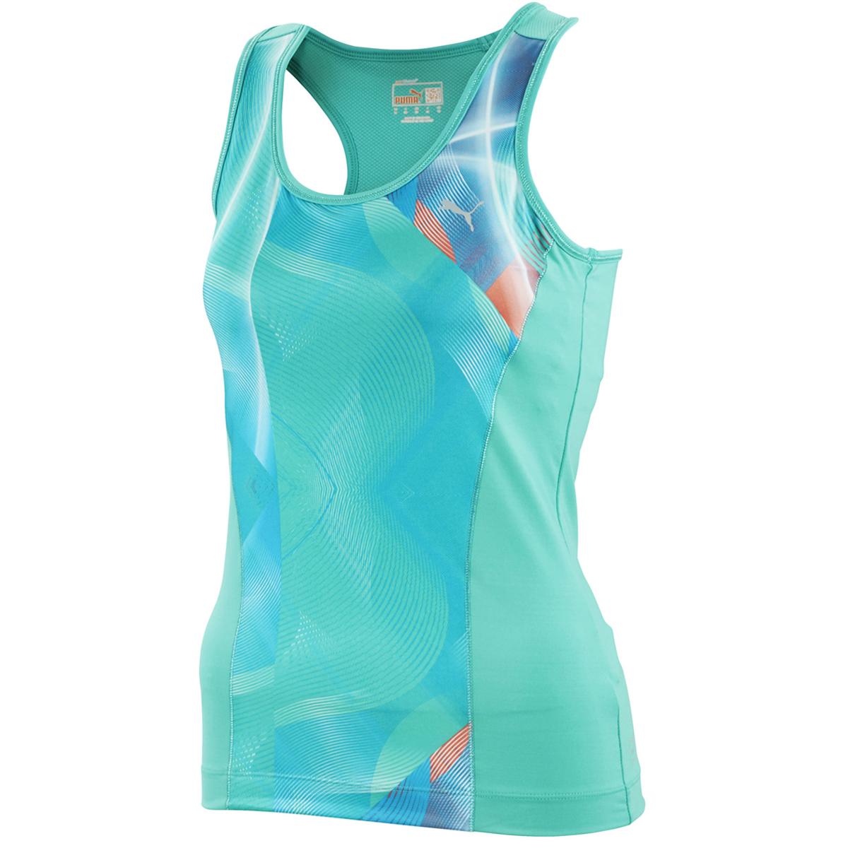 Puma Womens Graphic Gym Racerback Tank Top Vest T-Shirt Bra Support