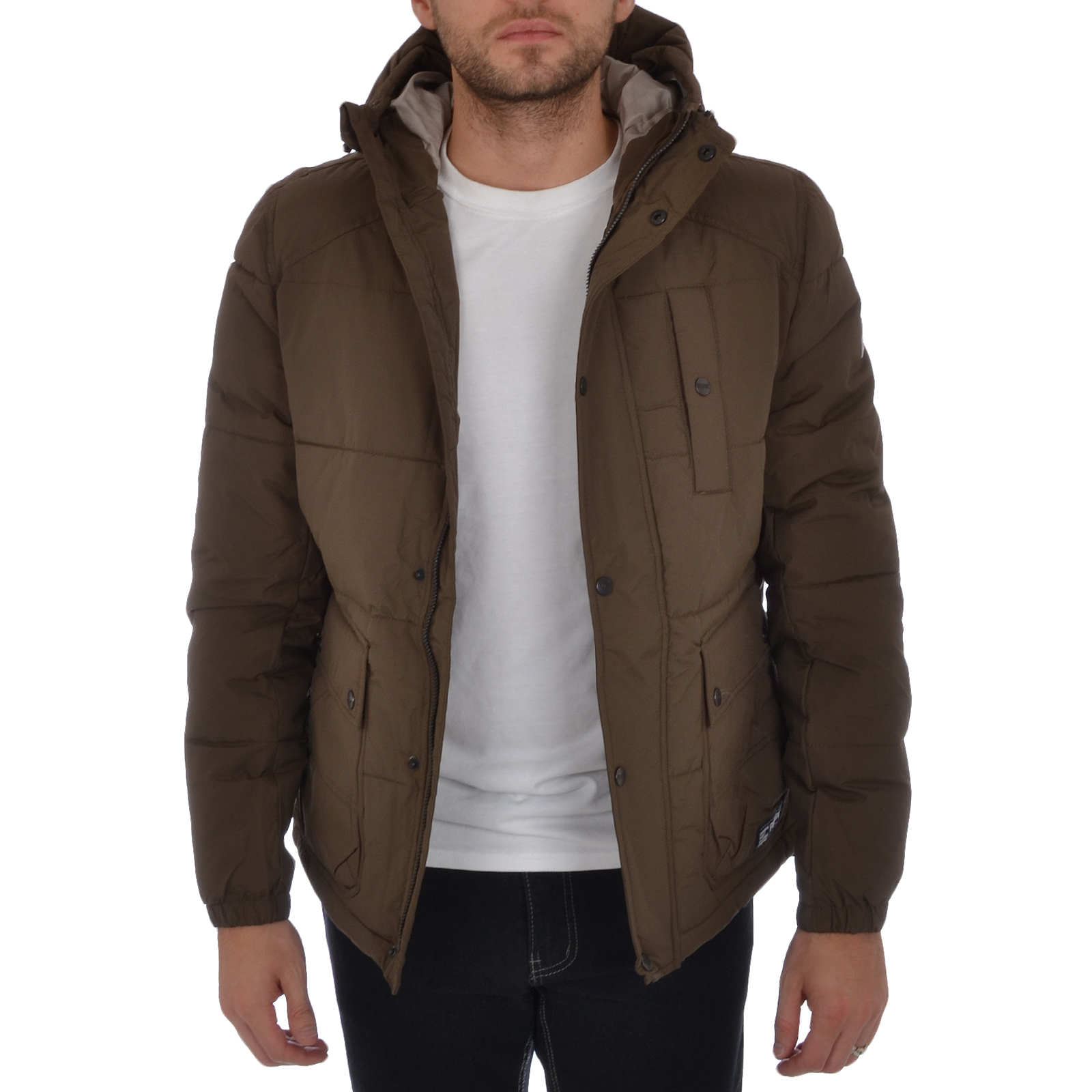 Puffa Mens Padded Winter Coat Quilted Hooded Warm Jacket ...