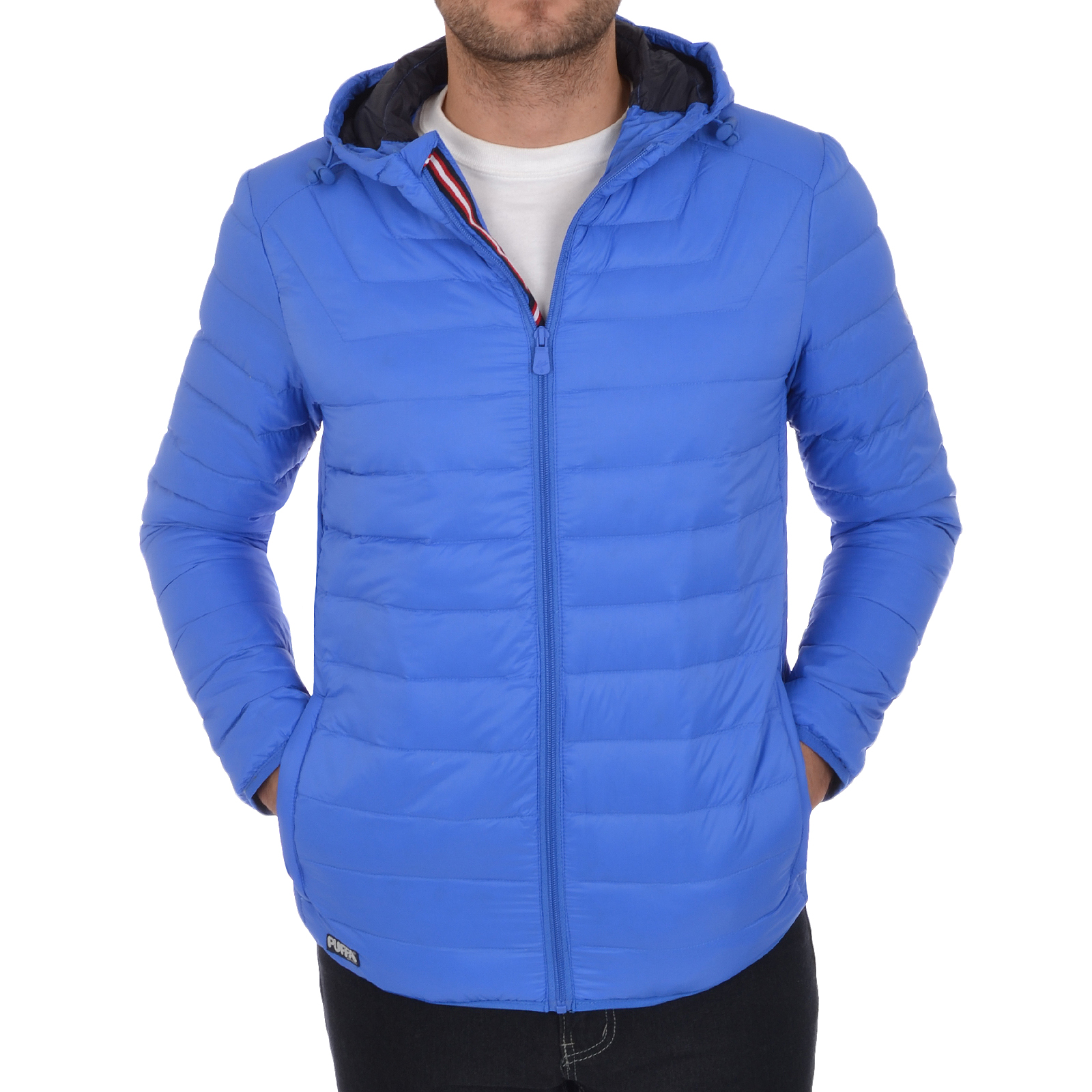 Puffa Mens Lightweight Down Jacket Hooded Padded Bomber