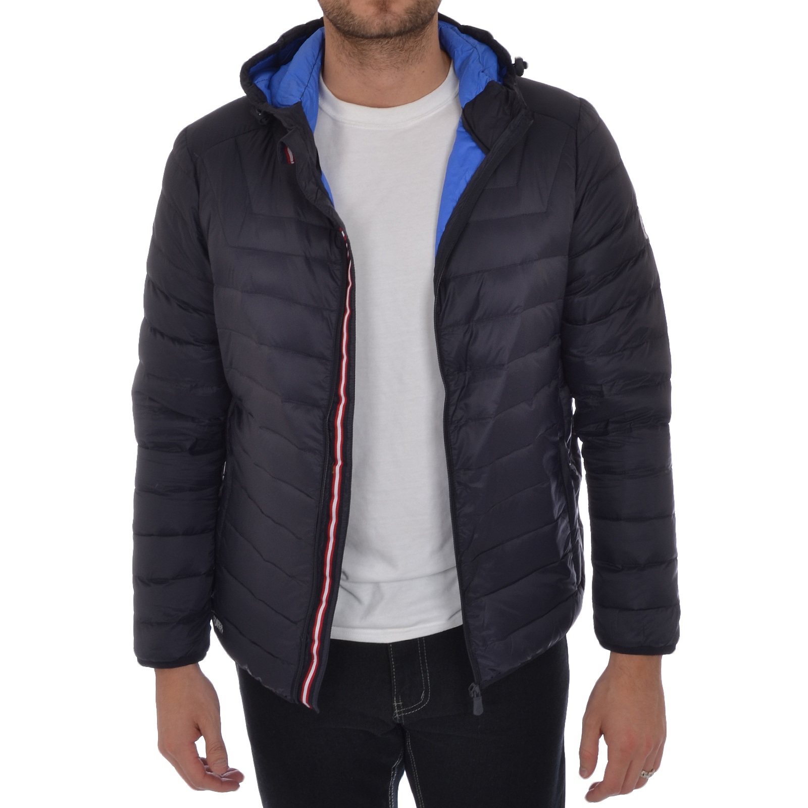 Puffa Mens Lightweight Down Jacket Hooded Padded Bomber Coat