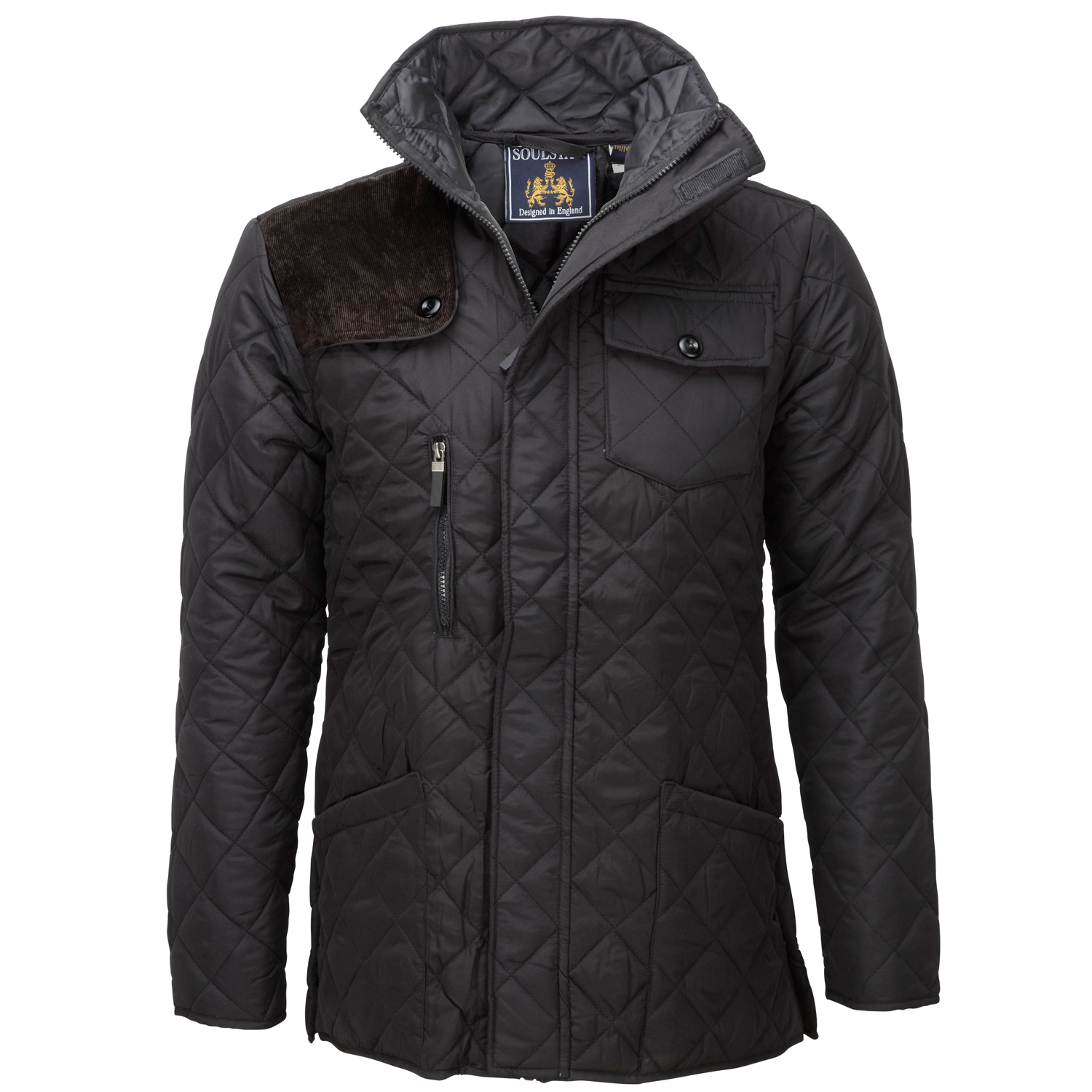 Soul Star Mens Padded Diamond Quilted Coat Cord Patch ...