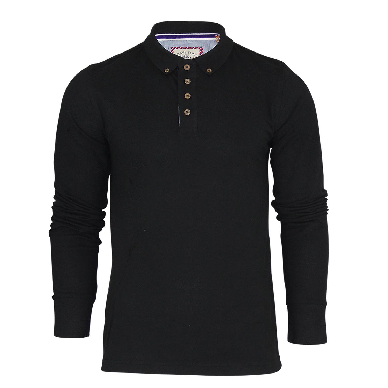Brave soul mens long sleeve polo shirt plain collar top for Men s lightweight long sleeve polo shirts