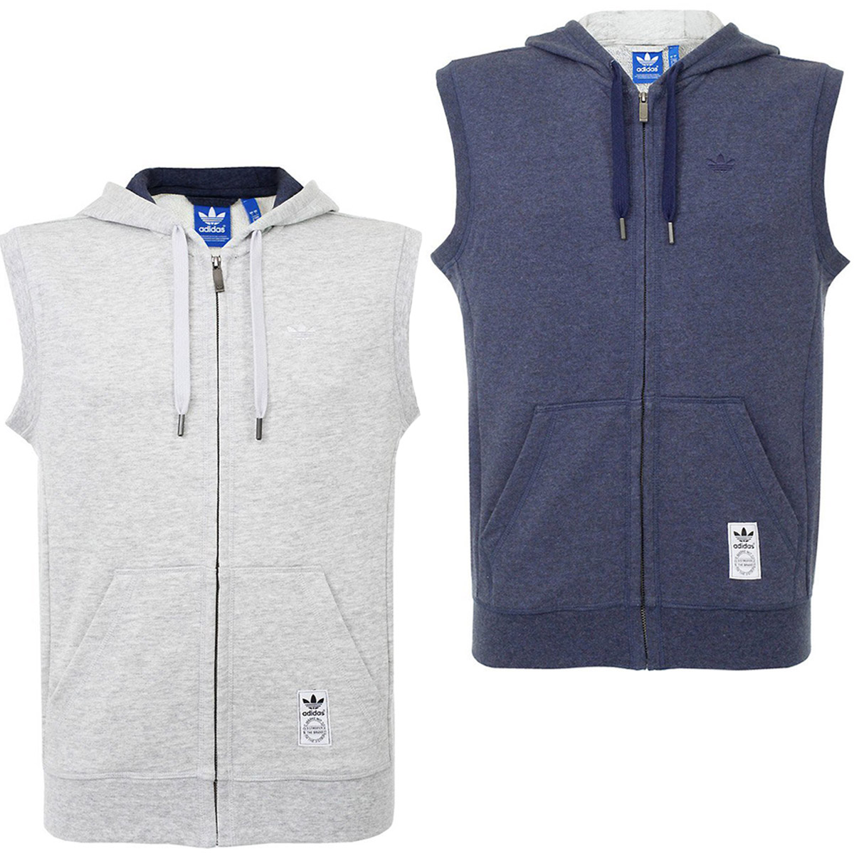adidas Originals Mens PE Sleeveless Hoodie Full Zip Vest Hoody Top ...