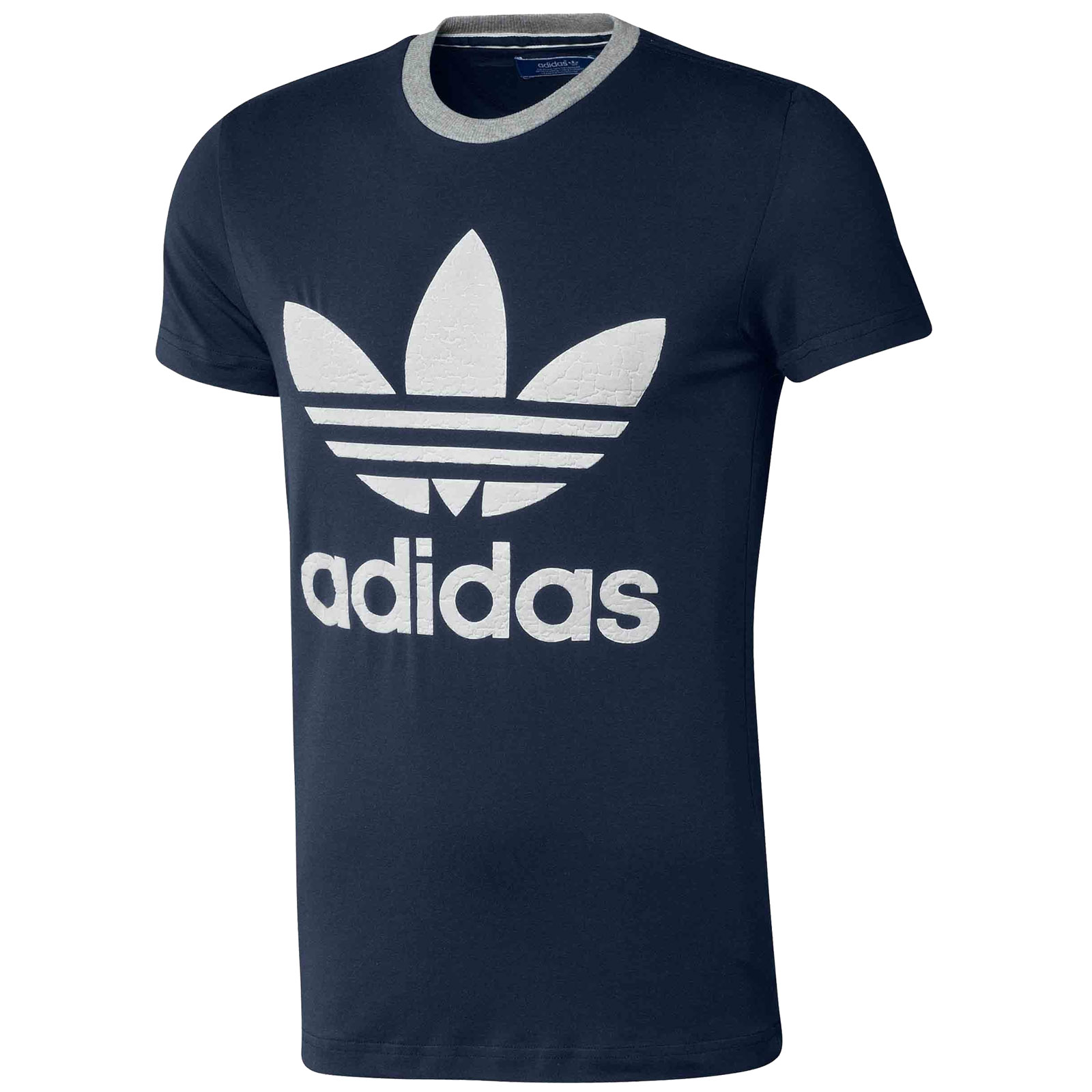 Adidas originals mens trefoil logo med t shirt short for Adidas long sleeve t shirt with trefoil logo