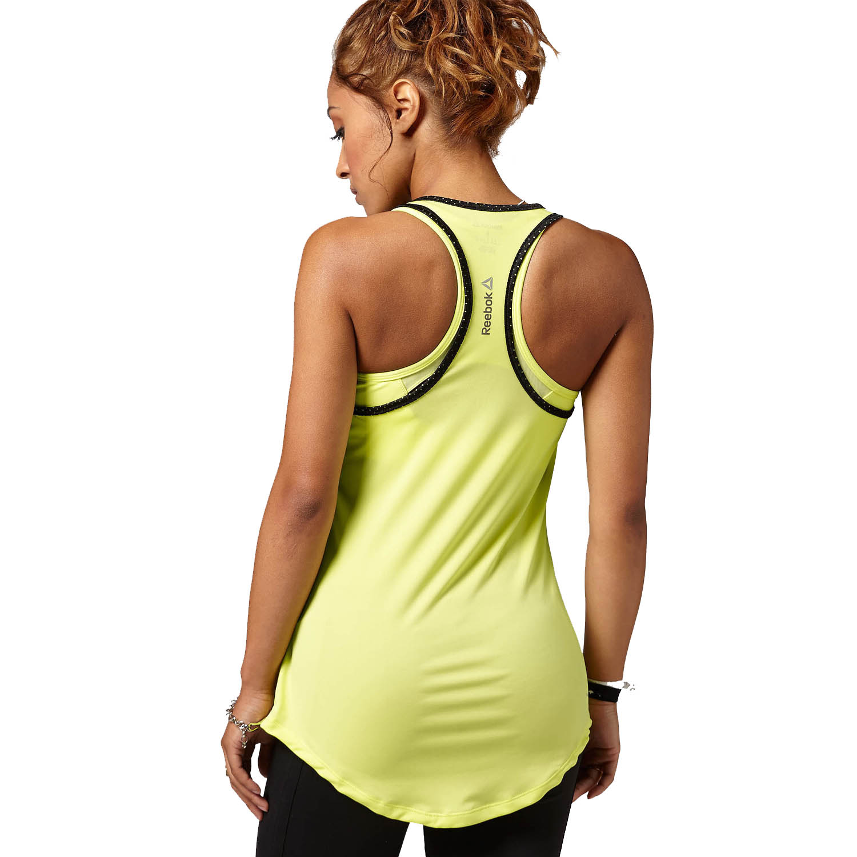 Reebok Playdry Womens Graphic Logo Racerback Vest Gym Tee
