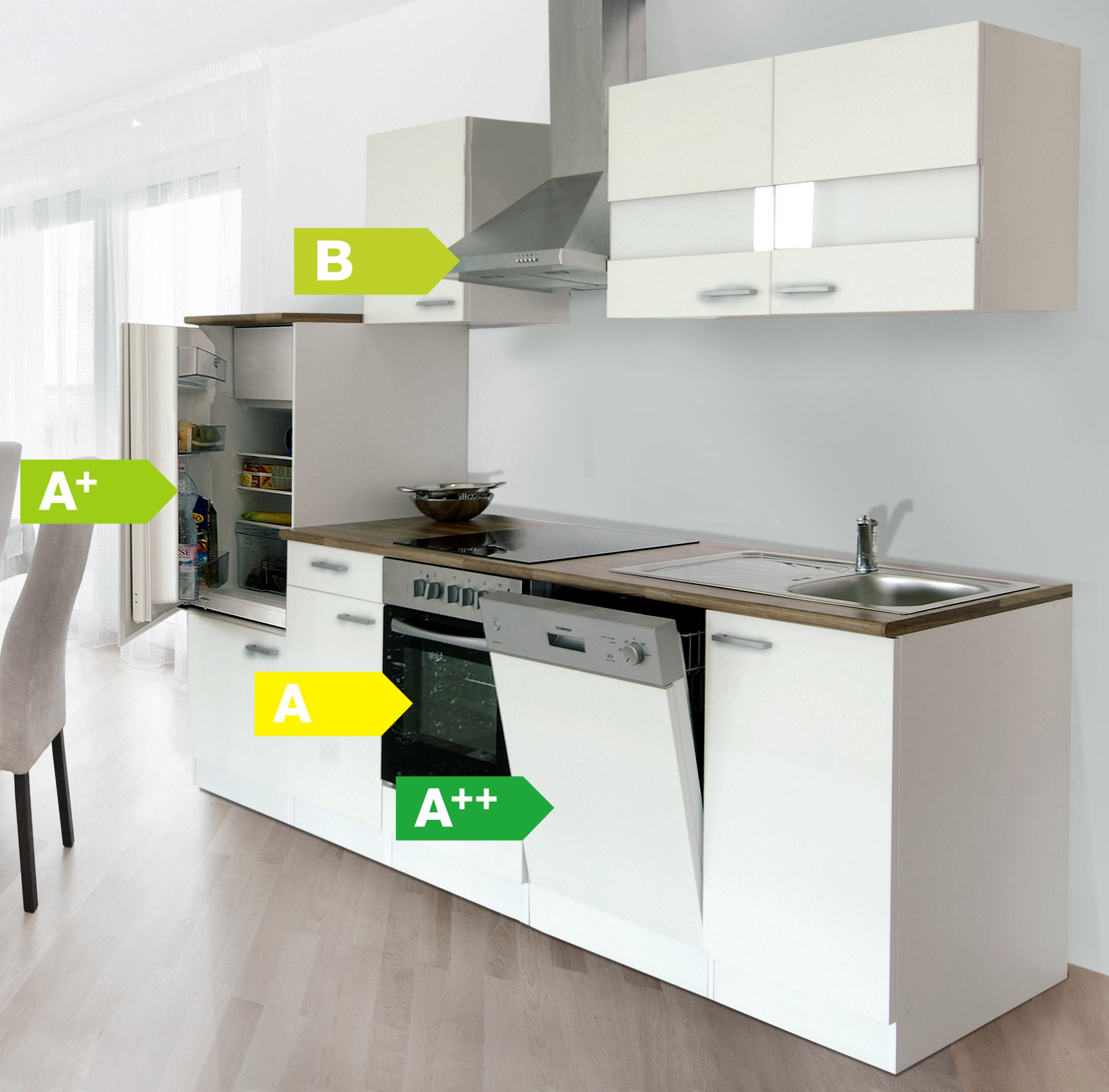 Küchenzeile 280 cm weiß Kaminhaube, Küche, Küchen, Küchenblock ... | {Küchenmöbel weiß 8}