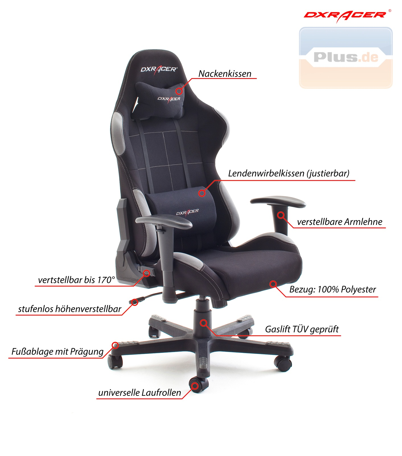 DXRacer-F-Serie-Computerstuhl-Drehstuhl-Gamer-Chair-Racer-Formula