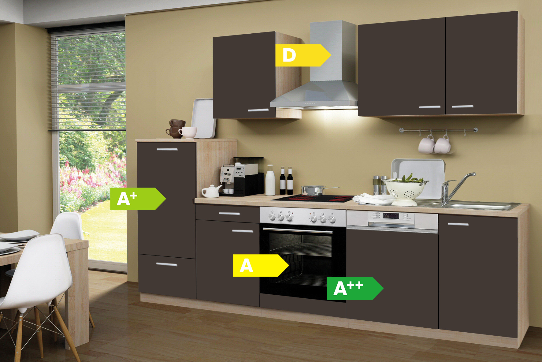 menke k chen k chenzeile classic 280 cm k chenblock k che k chenm bel ebay. Black Bedroom Furniture Sets. Home Design Ideas