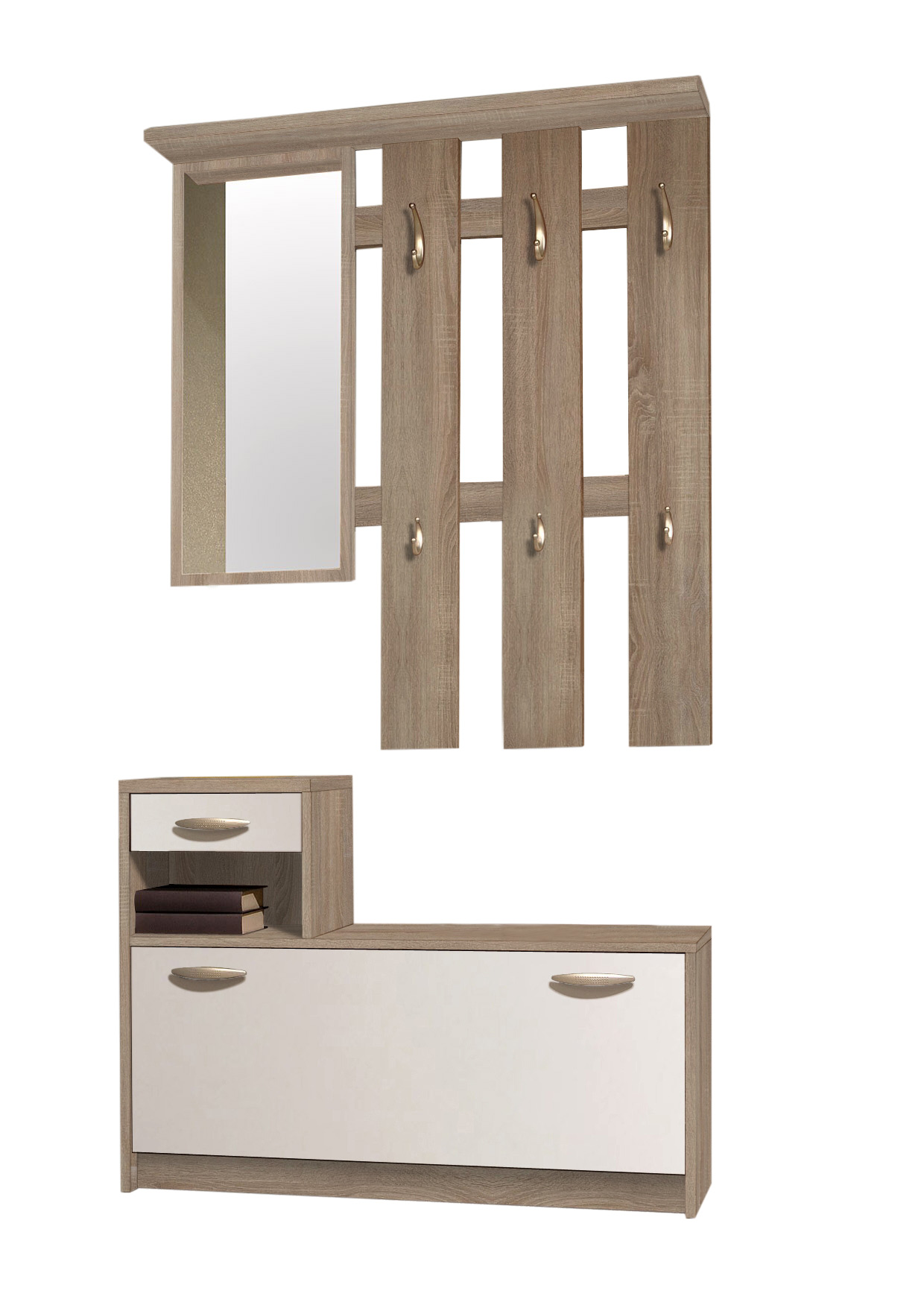 garderobe vera flurgarderobe paneel wandgarderobe set spiegel wei sonoma ebay. Black Bedroom Furniture Sets. Home Design Ideas