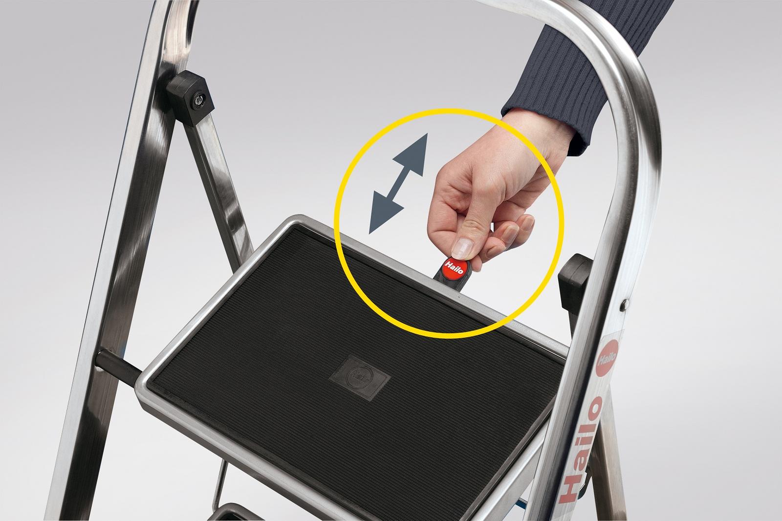 hailo k30 aluminium klapptritt mit sicherheitsb gel klapptritt leiter leitern ebay. Black Bedroom Furniture Sets. Home Design Ideas
