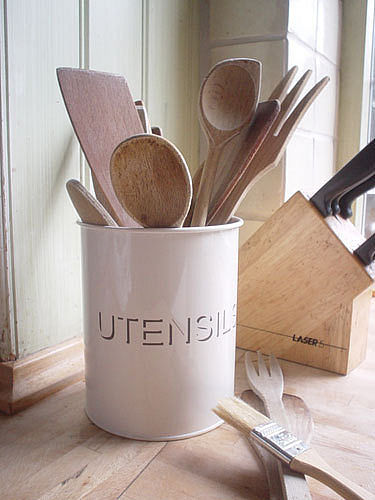 Pot de cuisine pour ustensiles vintage cr me mail casual - Pot ustensiles cuisine ...