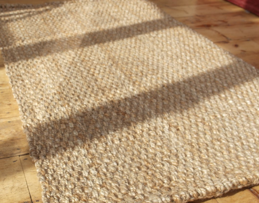 hand woven beige natural fibre jute rug 90cm x 150cm ebay. Black Bedroom Furniture Sets. Home Design Ideas