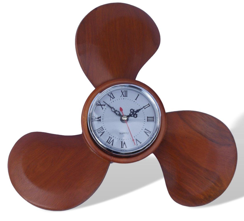 Propeller Wall Clock : Wooden propeller wall clock ebay
