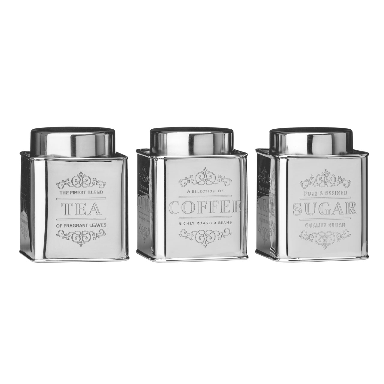 premier housewares chai tea coffee and sugar canisters. Black Bedroom Furniture Sets. Home Design Ideas