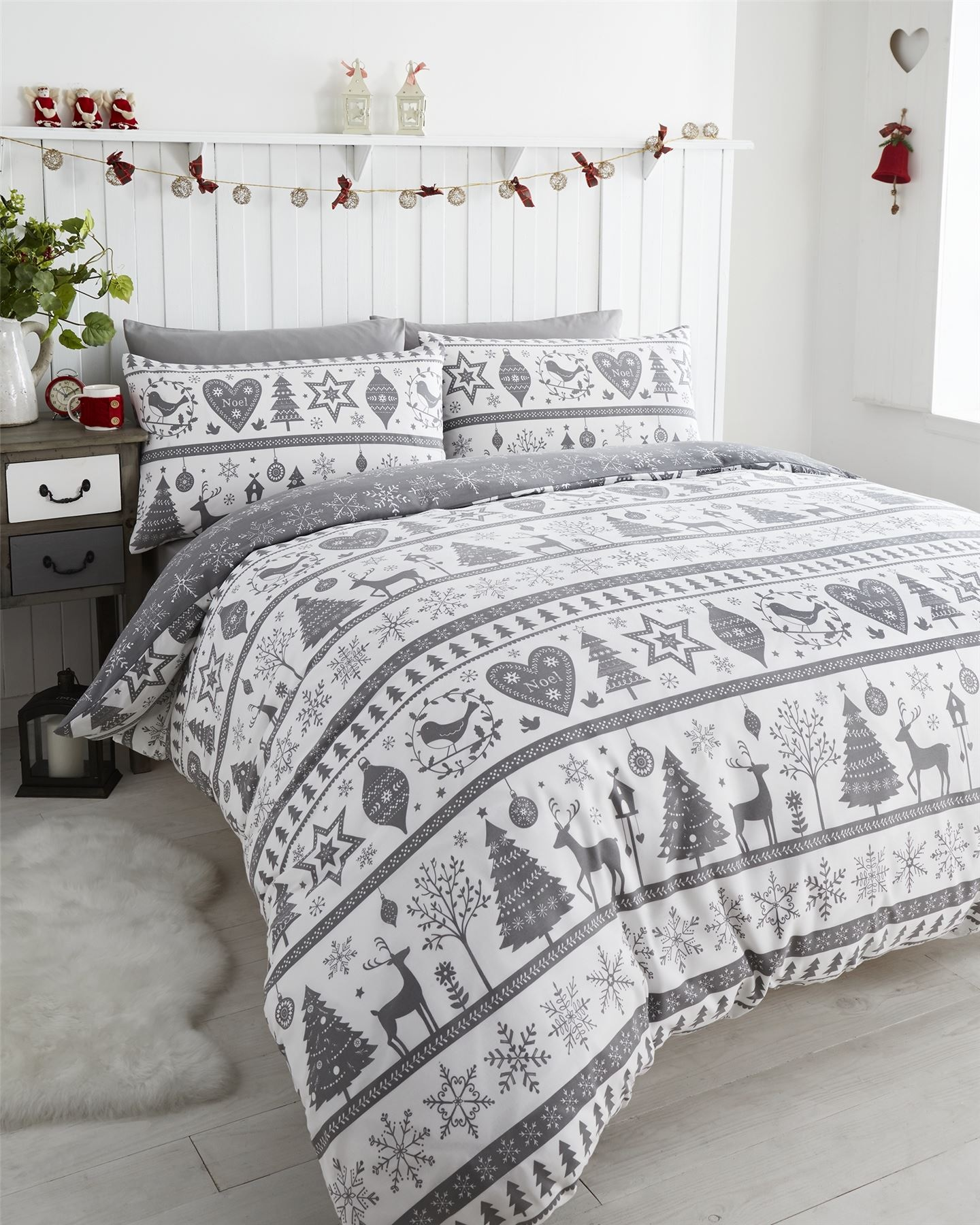 FATHER CHRISTMAS TREE SANTA REINDEER SNOWMAN QUILT DUVET COVER ...