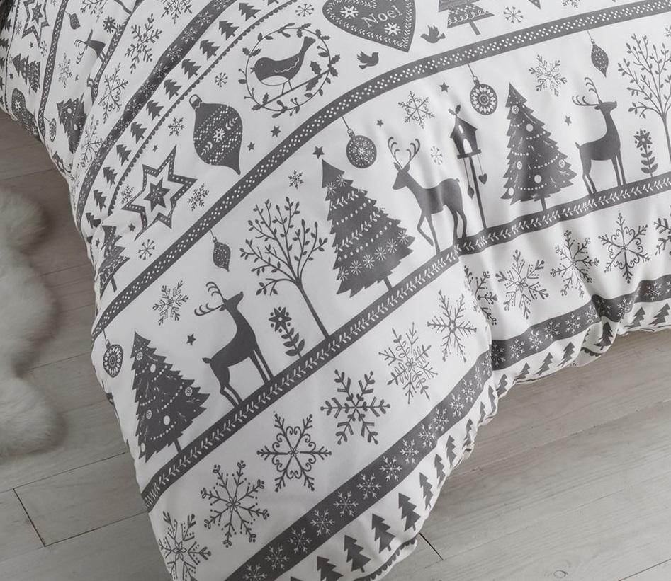FATHER-CHRISTMAS-TREE-SANTA-REINDEER-SNOWMAN-QUILT-DUVET-COVER-BEDDING-LINEN-SET