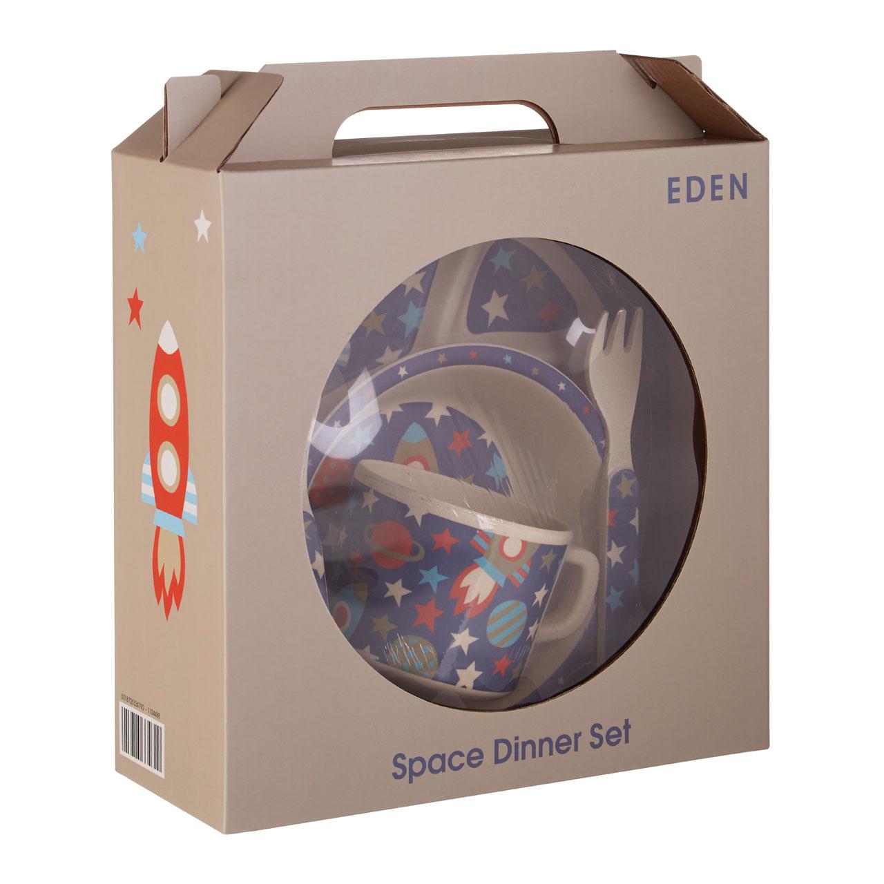 Eden 5-Piece Kids Cutlery Dinner Sets Pirate Space Elephant Birds Children Plate