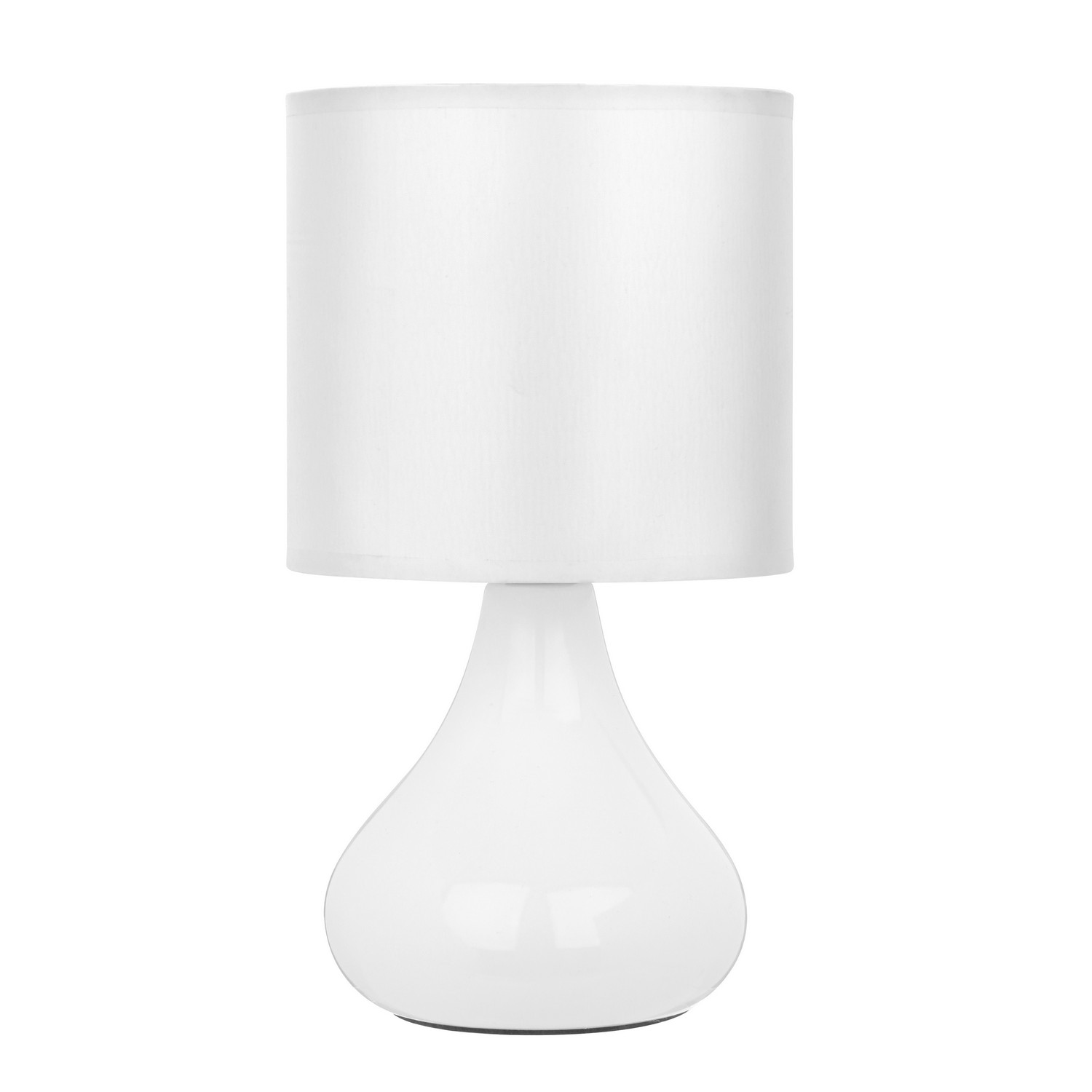bulbus modern white ceramic fabric shade bedroom bedside desk table lamp light ebay. Black Bedroom Furniture Sets. Home Design Ideas