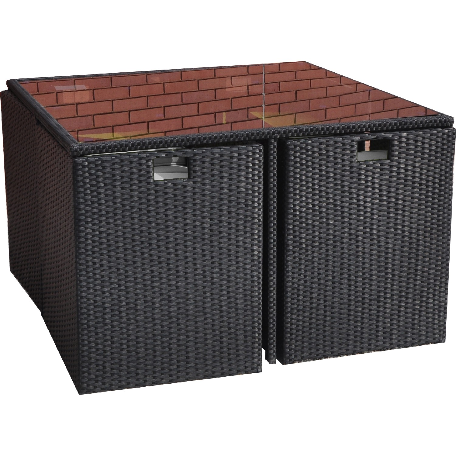 Kingfisher metal frame rattan effect cube table and 4 for Metal patio table and 4 chairs