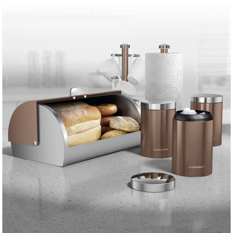 Morphy Richards Kitchen Set: 6 Piece Bread Bin Tea Coffee Sugar Canisters Kitchen Storage Set Mug Tree Copper