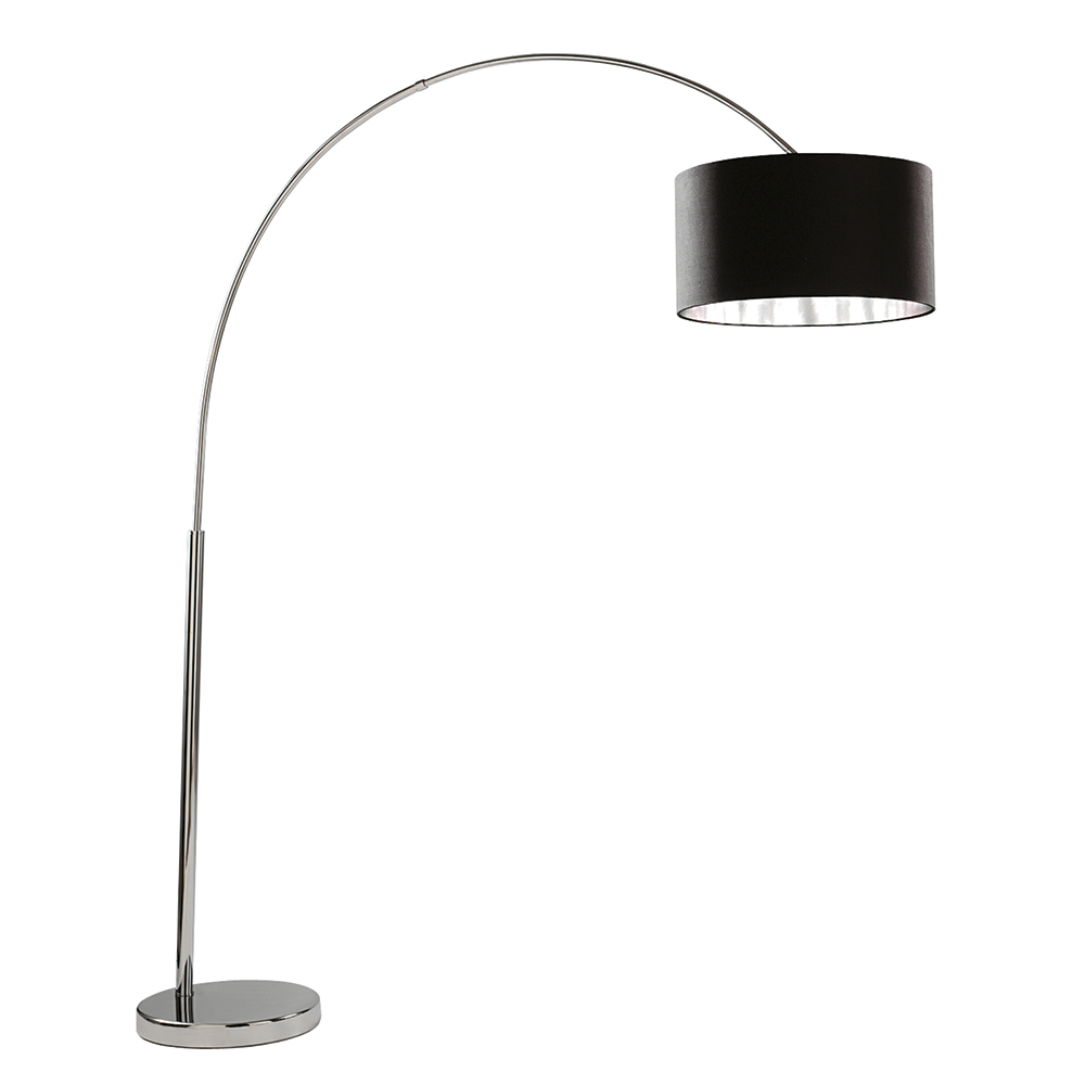 black shade silver arc free standing reading floor lamp light ebay. Black Bedroom Furniture Sets. Home Design Ideas