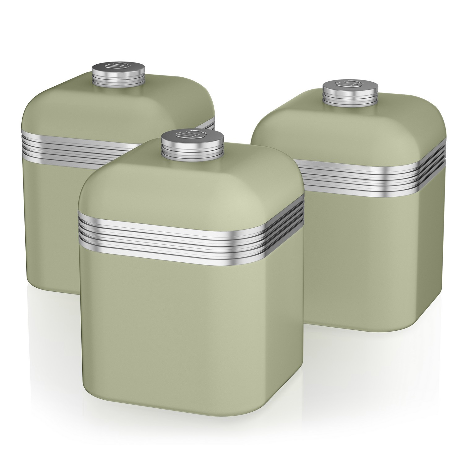 Kitchen Storage Canisters Swan Set Of 3 Tea Coffee Sugar Green Canisters Jar Kitchen Storage