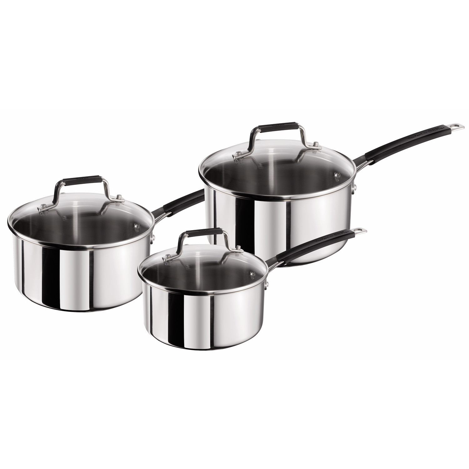 tefal 3 piece jamie oliver stainless steel saucepan cooking pans cookware set ebay. Black Bedroom Furniture Sets. Home Design Ideas