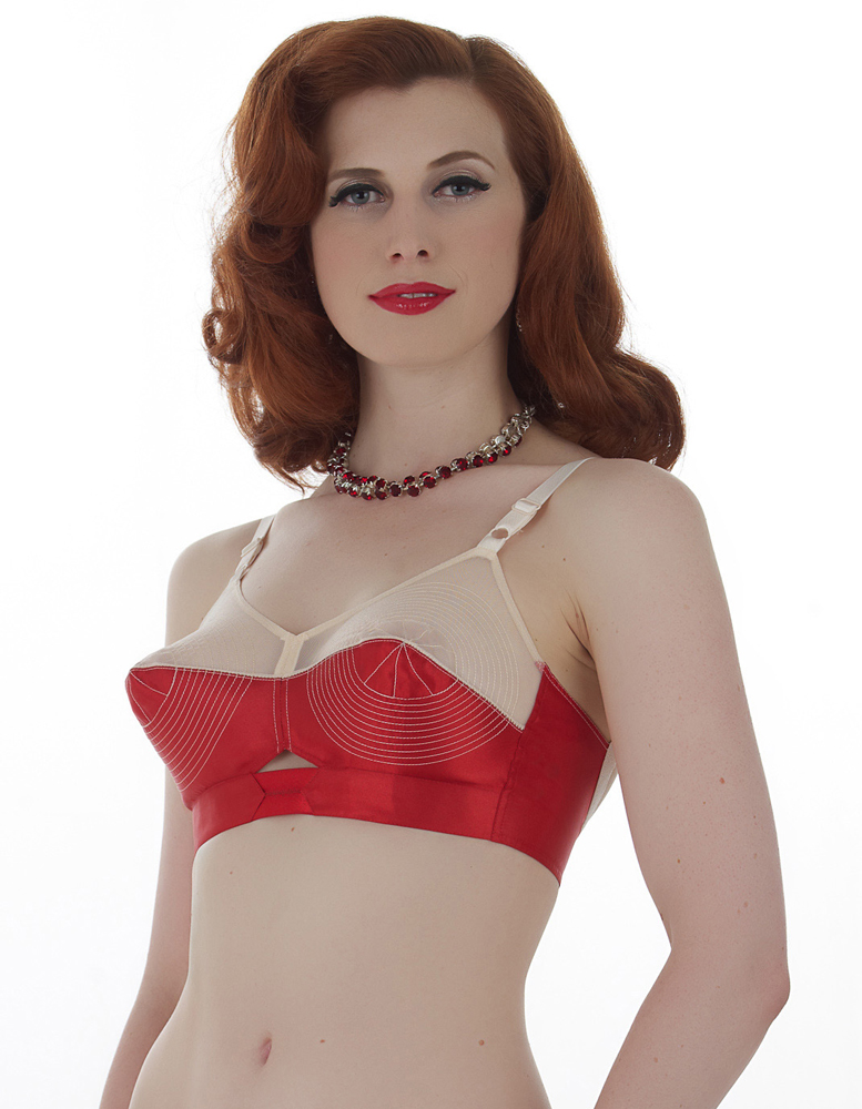 what katue did satin bullet bra in red and peach