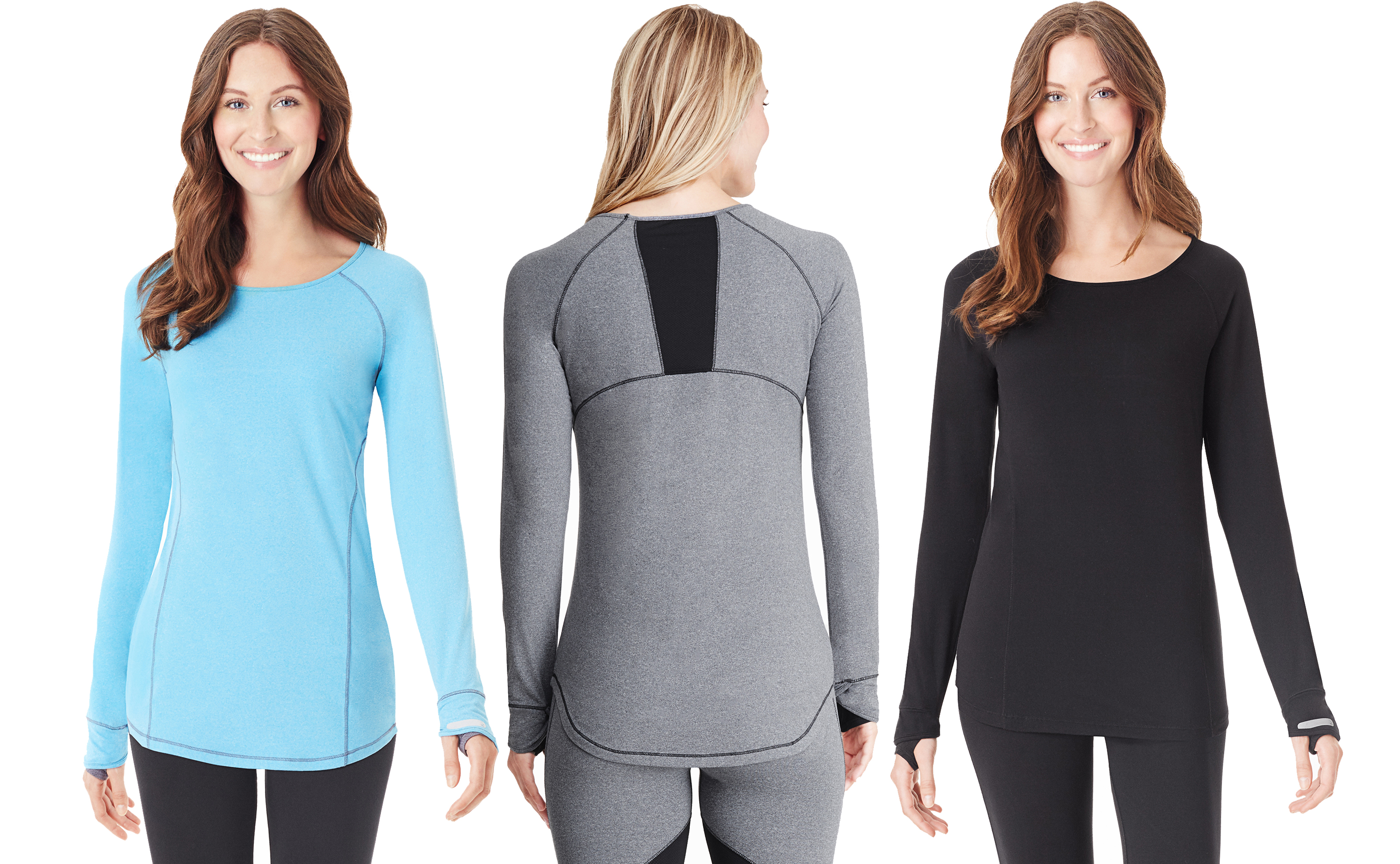 Cuddl Duds Sport Layering in blue grey and black