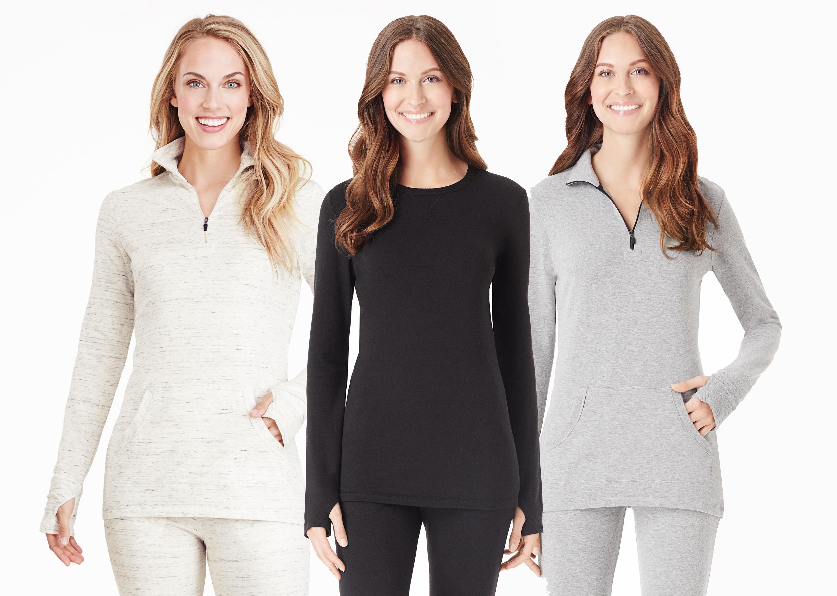 Cuddl Duds Comfortwear in grey, blacka and ivory