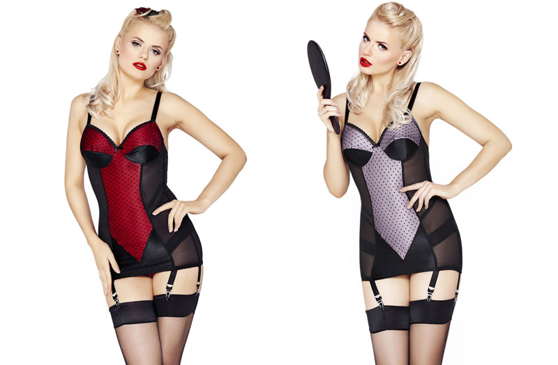 Mio Retro Corselette in dashing red and purple
