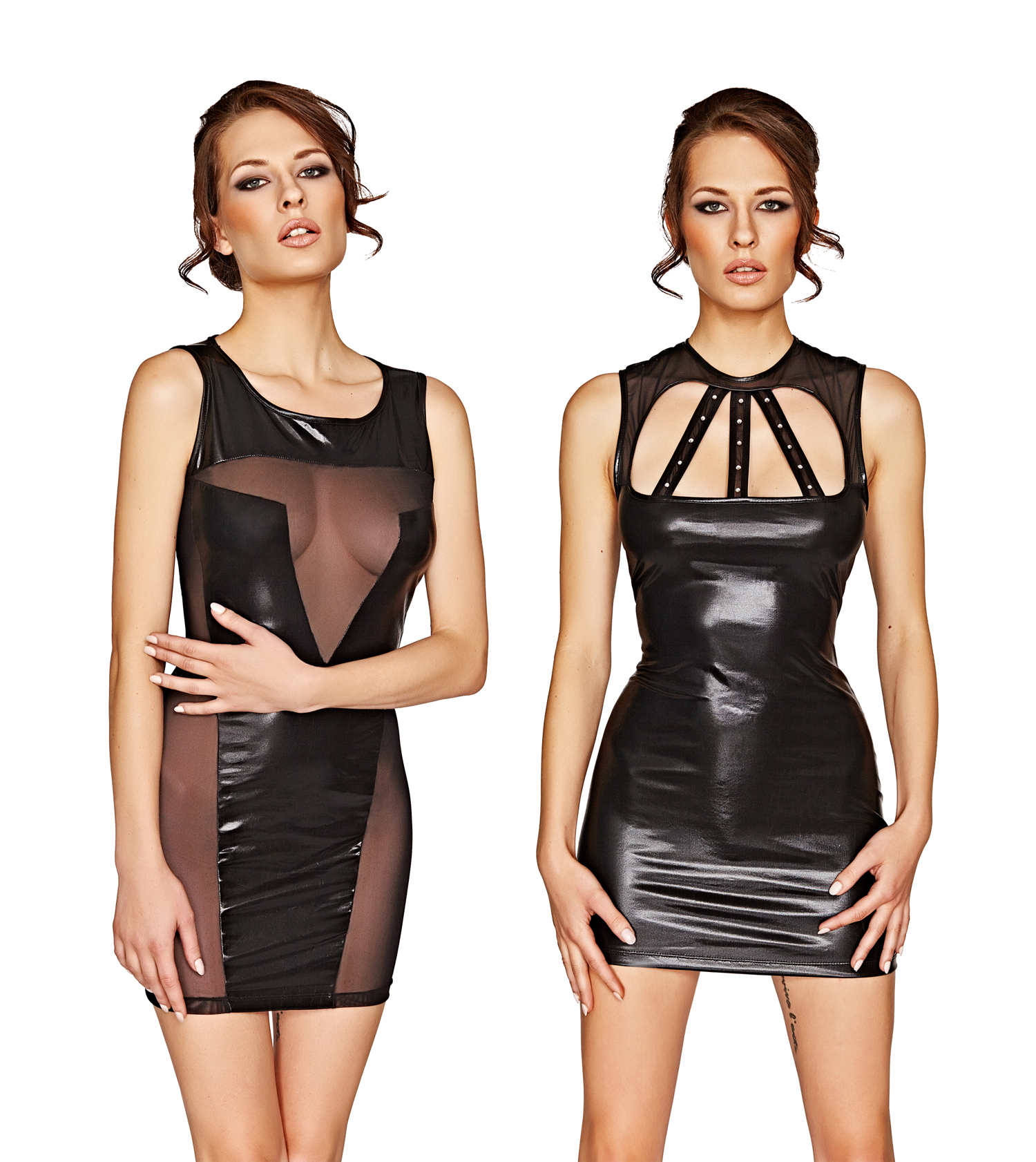 Mio Sexy black wet look dresses