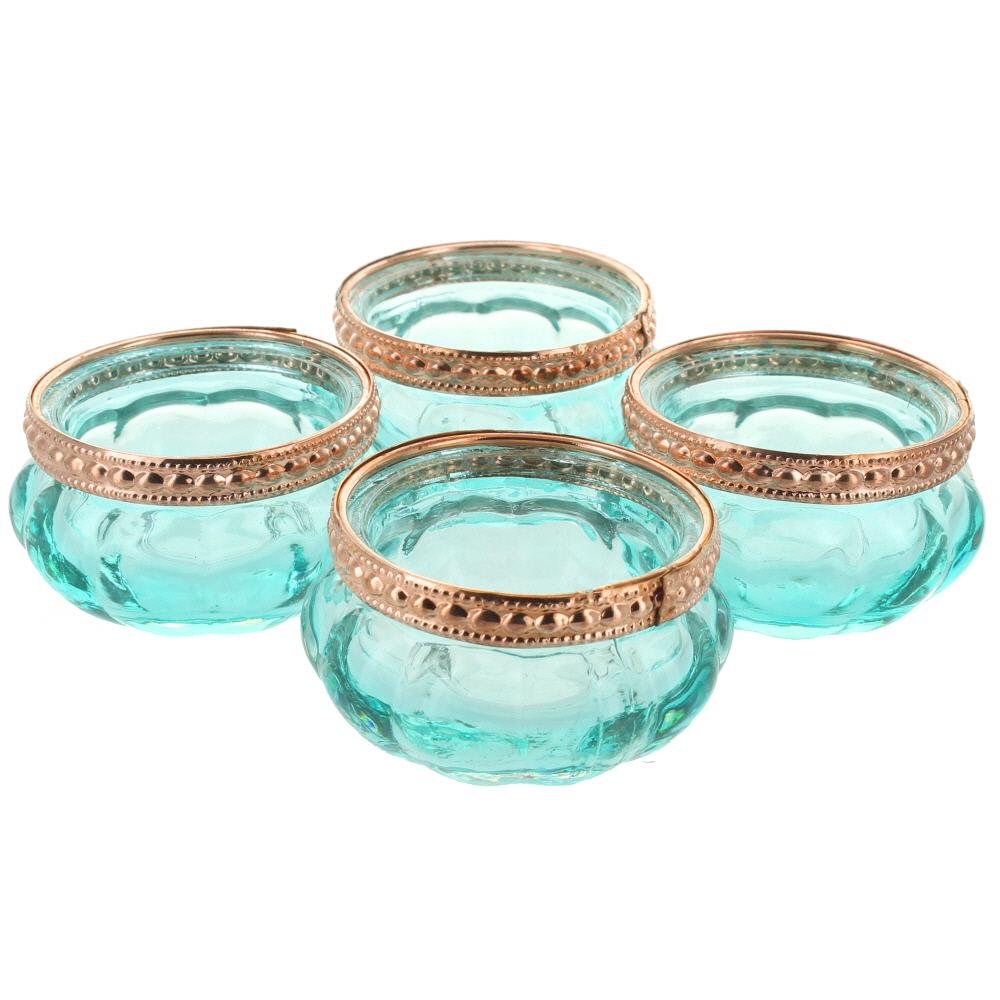 Set Of 4 Copper Rim Glass Tea Light Holders Ebay