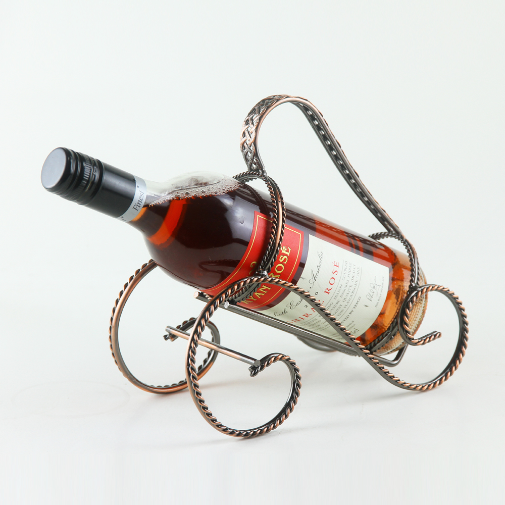 Single wine bottle stand metal holder rack dinning kitchen bar brown ebay - Wire wine bottle carrier ...