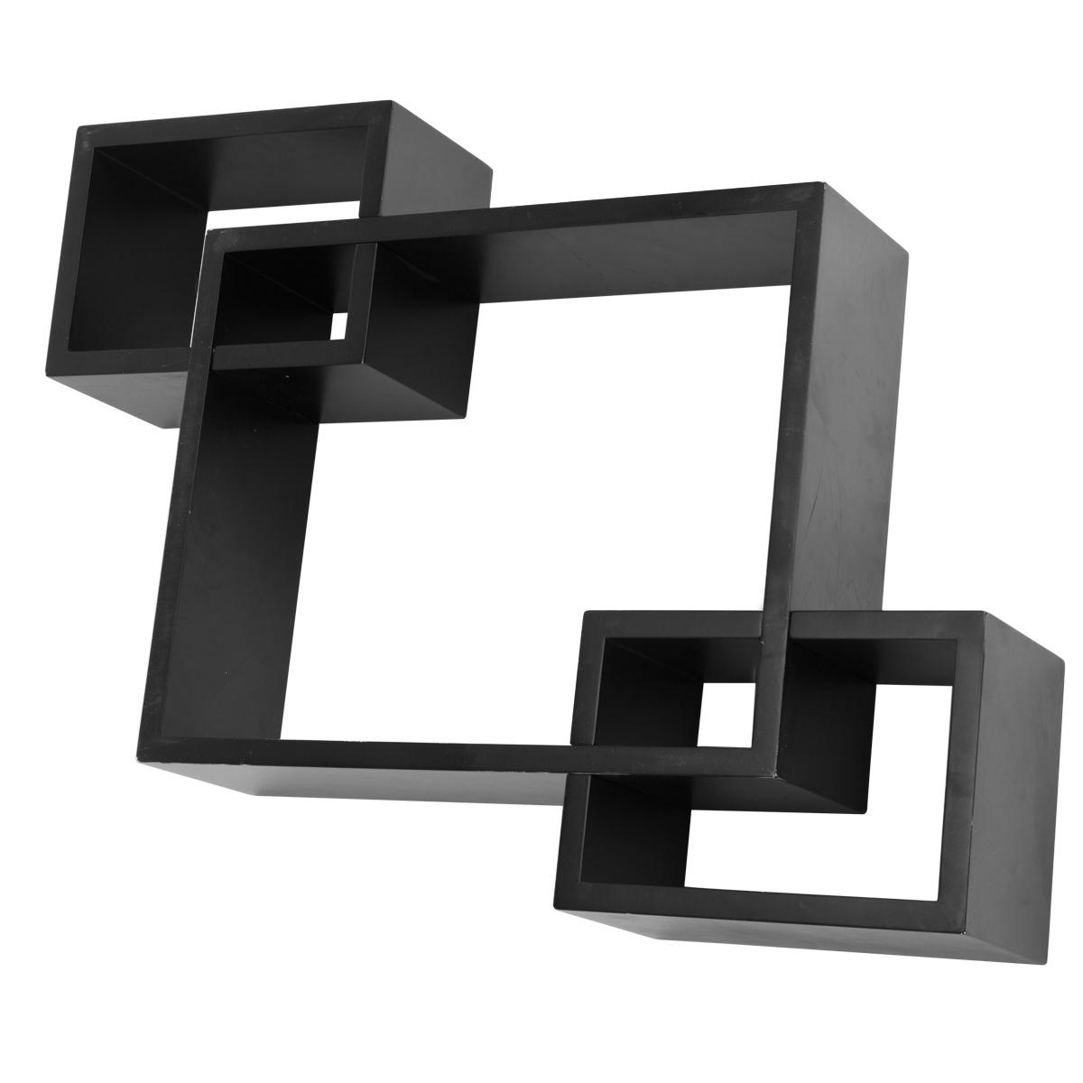 new black floating wall mounted cube shelves concealed. Black Bedroom Furniture Sets. Home Design Ideas