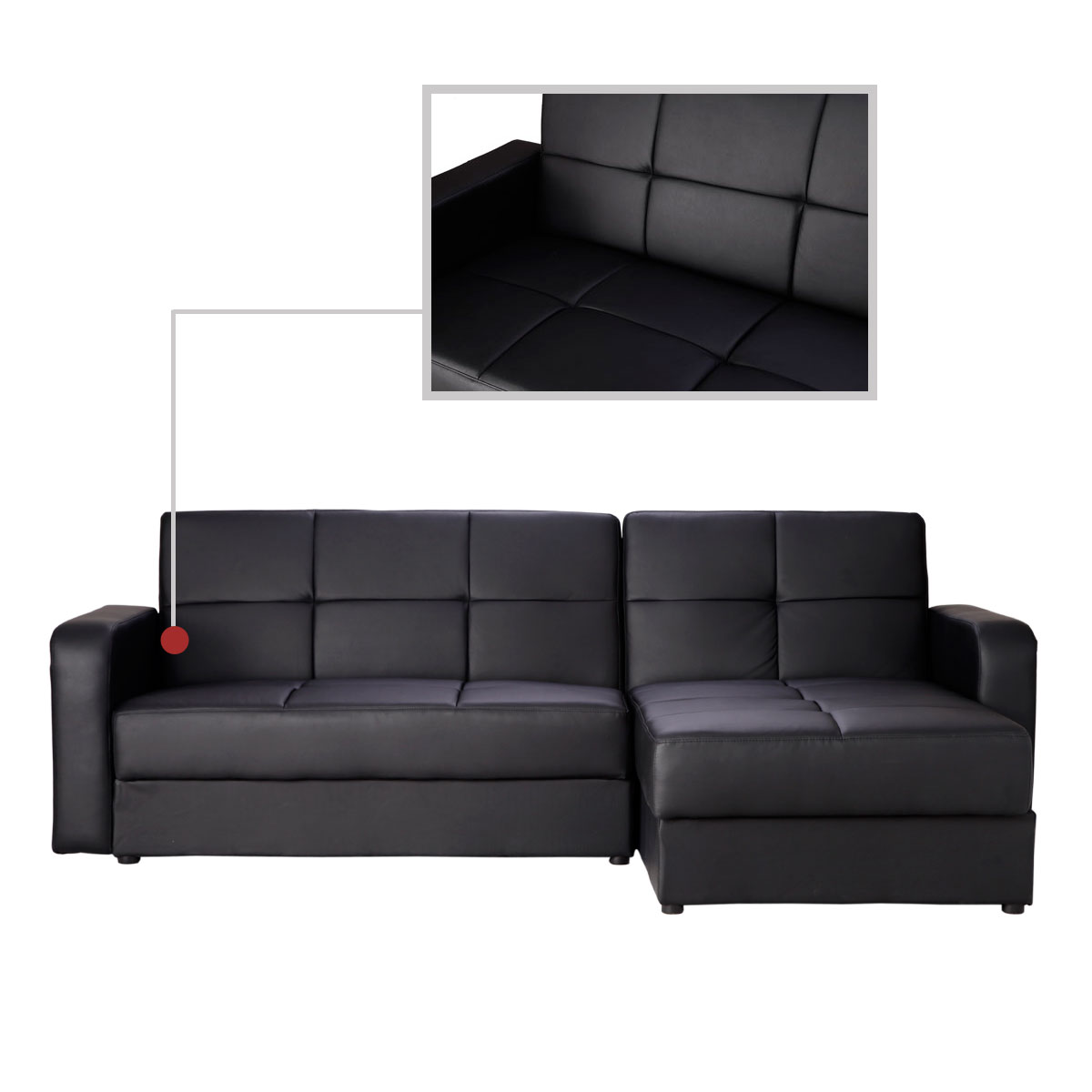 Brand new faux leather corner sofa bed sofabed chaise with for Chaise corner sofa bed
