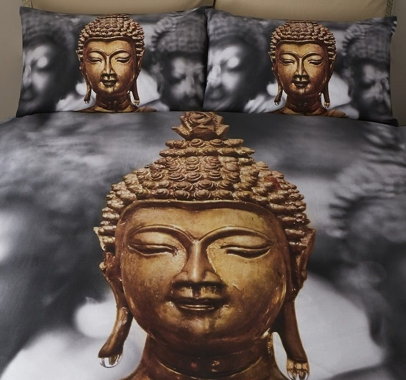 buddha design photo print duvet quilt cover bedding bed set pillowcase grey gold ebay. Black Bedroom Furniture Sets. Home Design Ideas