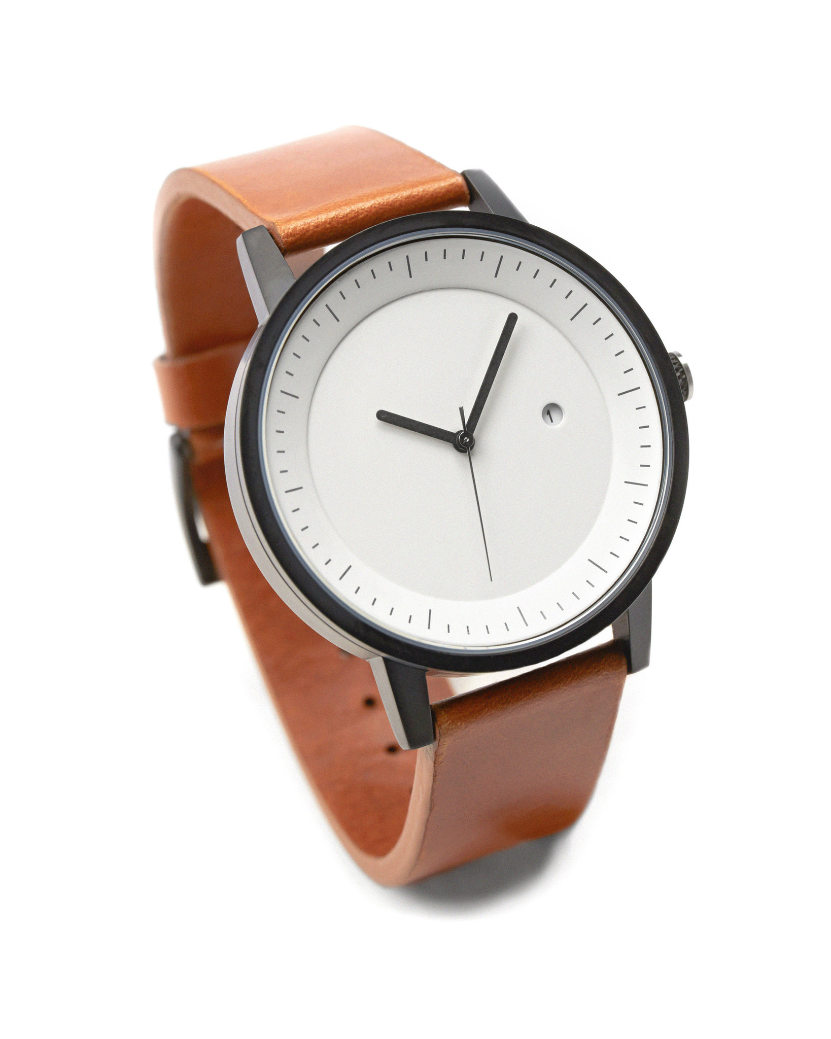 Swco simple watch company unisex earl leather watch tan black white ebay for Black tan watch
