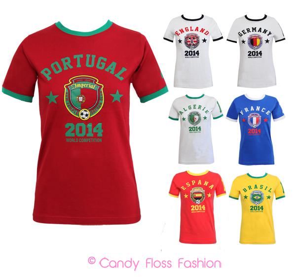 New womens mens england italy brazil world cup football for Womens brazil t shirt