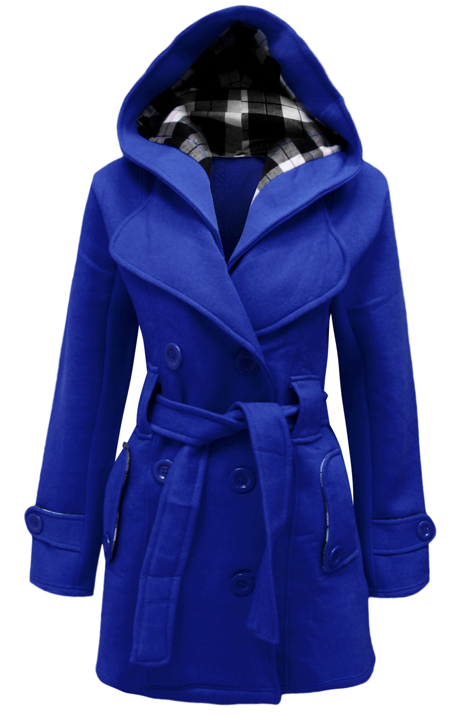 LADIES BELTED LONG COAT WOMENS HOODED BUTTON JACKET PLUS ...