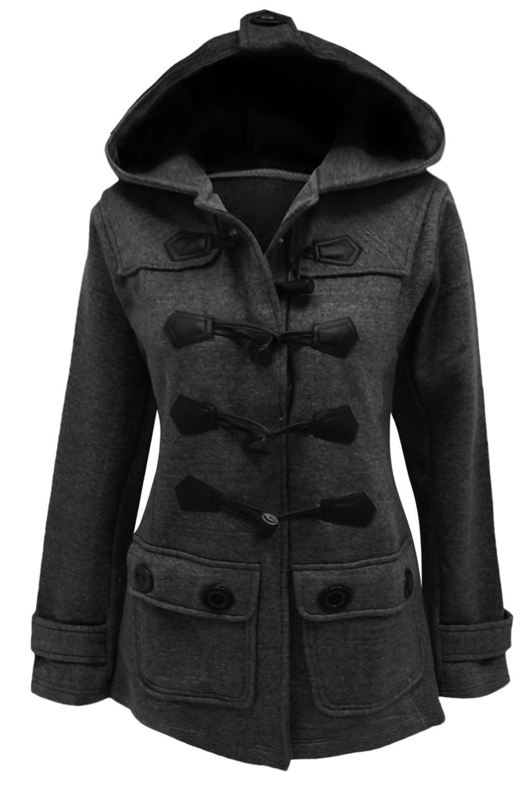 Catch One New Womens Fleece Toggle Duffle Coat Ladies Hooded Plus