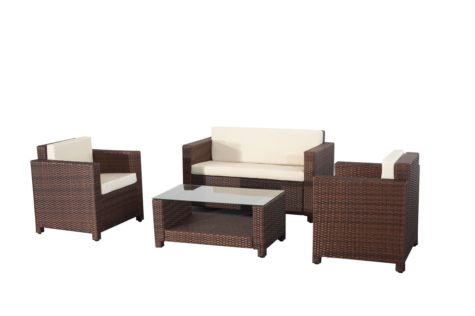 rome 4pcs weatherproof outdoor furniture set durable rattan brown